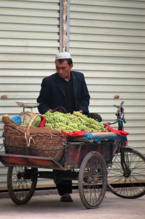 ここにも葡萄売りが。<br />ホント、葡萄売りが多すぎて、こんなの商売になるのかな・・・と要らぬお節介を感じてしまう。<br />殆どが自分の家でできたモノで、南疆の一般家庭には、大抵の家には葡萄棚があり、みんな自給自足したり、隣近所に分け合ったりしている。<br />かく言う韓さんの家にも、大きな葡萄棚があって、玄関先に沢山ぶら下がっていた。<br />余りにも多いので、8割は以上はそのまま朽ちてしまうものだった。<br />なので、売り子を見ると、そんな事を感じてしまう。<br /><br />でも、これからは需要が上昇するだろう。<br />都市開発で立ち退きが多く、そう言った家々が無くなっている。<br />韓さんも立ち退きに遭い、今は公団に住んでいるのだ。<br /><br />・・・ん?では、売り子の家が立ち退きに遭うと、、、<br />説が成り立たん〜(@@;