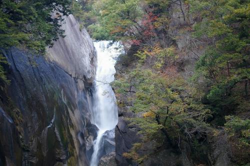 ここからが昇仙峡です。<br />名所のほとんどが頂上付近に集中しています。<br />下から登っていくと3時間コースになってしまうので、文明の力「くるま」を使って頂上から下っていきます。<br />むかしの人、ごめんなさい。<br /><br />まずは、仙娥滝(せんがたき)です。<br />日本の滝100選にも選ばれている程の美しい滝です。<br />こちらもマイナスイオン出しまくりですw<br />板敷渓谷の滝に比べて規模が大きく、姿も雄大です。<br />ただ、あまり近くまでは寄れないので、感じる迫力の点では甲乙つけがたいです。