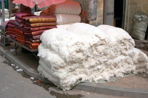 仕上がった綿が置いてある。