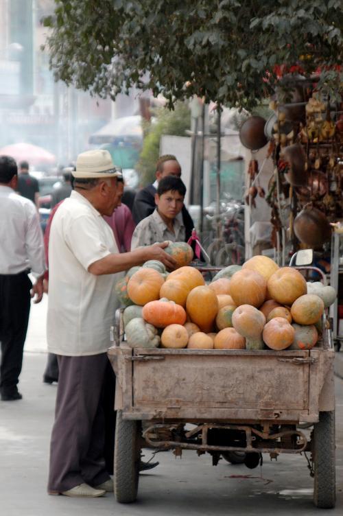 遠くに目をやると、何だか不思議な形と大きさをした不是太一般的南瓜(ちょっと普通じゃないカボチャ)を売るリヤカーが見える。<br />
