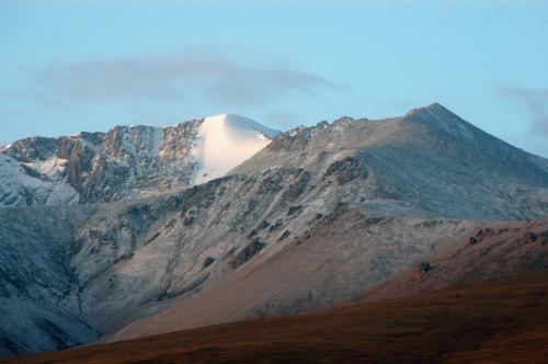雪山のクローズアップ。