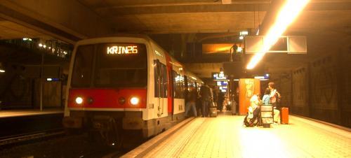そして、「RER」の列車で、パリへ<br />列車は新しいが、室内は割と小ぎたない車両。<br />料金は市内まで10ユーロ以上。<br />あれ?こんなに高かったっけ??<br /><br />しばらく揺られていると、<br />アコーディオン弾きが乗って来て、<br />「パリの空の下」が鳴り出す。<br /><br />初めての外国旅行で、<br />このRERのアコーディオン弾きに遭遇、<br />感激していたのです。<br />以来、フランス・パリといえば<br />このメロディーが頭から離れない。<br />情緒のある感傷的なフレーズが好き。<br /><br />そうしているうちに、列車はパリ市内へ入り、<br />メトロに乗り換え、宿にチェックイン。