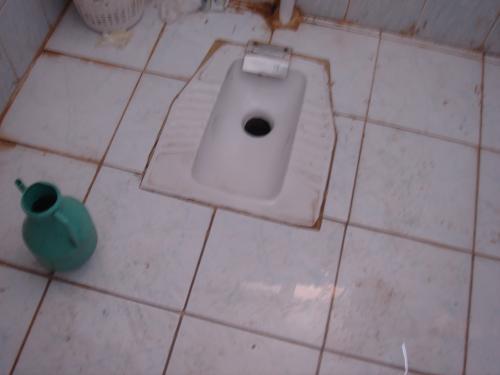 アラブのトイレで〜す。<br /><br />「紙」はありません。<br />穴のほうにおしりをむけ、ドアのほうをむいて用を足します。<br />そして左手前に見えるのがバケツで、その上にホースがあり、水がたまったら左手で水をすくい、おしりをきれいにきれいにするんです。そのあと、そのバケツの水で「何を」、お流しですよ。<br />紙を使う場合は、屑篭に使用後の紙を捨てます。流しちゃだめよ。<br /><br />お食事中の方、失礼しました。。。。<br /><br />