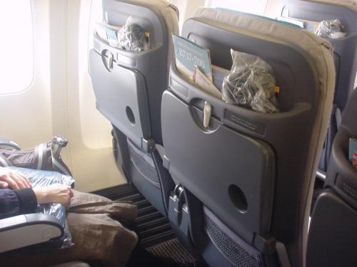 機内のシート前ポケットです。新しい機材なのか普通のと少し違いました。