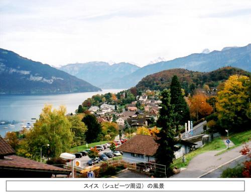 私はドイツ(フランクフルト)からドイツの新幹線『ICE(1等車)』に乗車し、スイスに向かった。ICEの乗り心地は満点である。座席配置は日本の新幹線グリーン車の2倍のゆとりがあり、列車版ビジネスクラスである。広々としたテーブル席で、コーヒーを飲みながら移りゆくドイツとスイスの車窓を楽しむ。まるで、テレビの『世界の車窓から』のように……。ドイツからスイスアルプスの麓に至る5時間強の誠に快適な国際列車の旅であった。スイス・ミューレン(泊)<br />