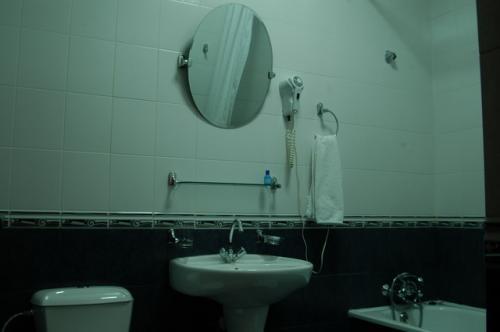 バスルームは清潔で広かった。この中も先ほどのラジエーター式暖房器具があるので暖かい。
