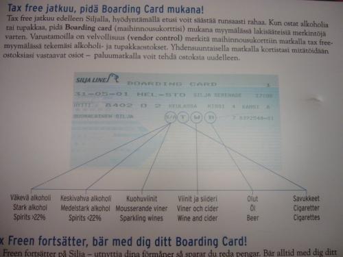しかし、ちゃんと買った数はチェックされます…<br />レジにてボーディングカードの提示が求められ、<br />購入後はチェックが入れられます。<br />その後は購入することはできません。<br />