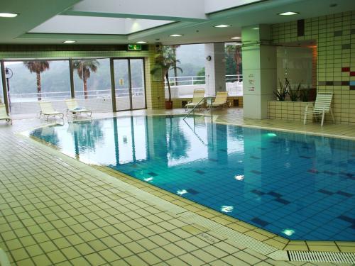 本館の室内温水プール。規模は小さいが1年中泳げるのはありがたい。アスレチッククラブで汗を流した後のクールダウンにちょうどいい。