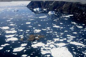 グリーンランドの入り江に近づくと流氷の欠片が見えてくる・・
