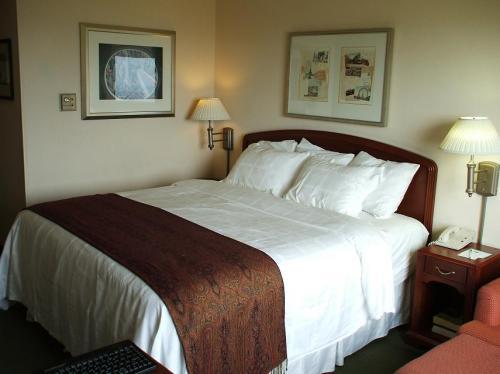 それでも、マリオット系列のホテルだけあって、客室の内装は上品に仕上がっている。大きなキングベッド。