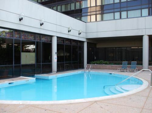 屋外温水プール。屋内外のプールは水中でつながっている。