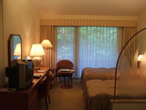 今日の部屋は池に面した2階の和・洋室、A1タイプの618号室(写真)。客室面積は38.2?あり二人で使うには十分の広さである。