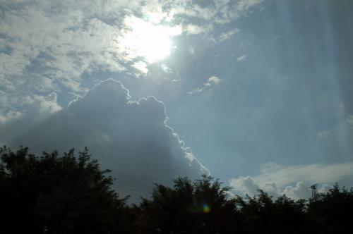 逆行に、入道雲の輪郭が照らされて綺麗です。