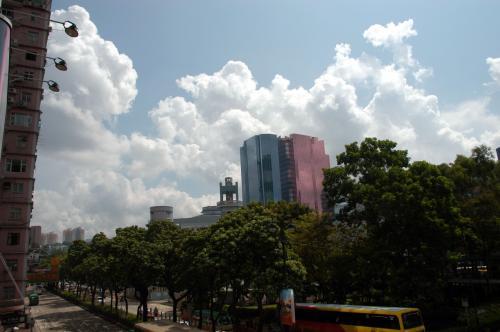 歩道橋からは、あの「心臓ビル」が、今日も綺麗に見えています。<br /><br />今日はヤケに入道雲が目立ちますね。