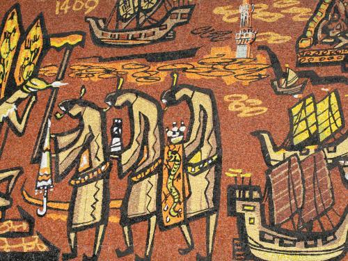 1411年には、パメスワラ王が自ら明国皇帝を表敬訪問しています。この部分には1409年の表示があります。頭を垂れて、朝貢の場面でしょうか。