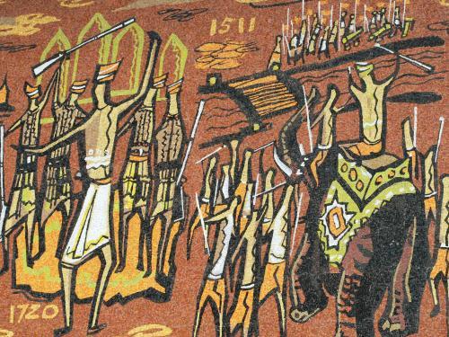 右手には1511年、左手には時代を飛んで1720年の表示があります。1511年は、ポルトガルによりマラッカが征服された年です。1641〜1824年は、オランダにマラッカが支配された時代です。