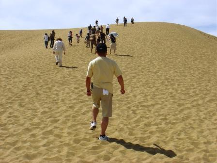 少しは進んだか…<br />やっぱり砂に脚をとられて、中々前へ進めない!