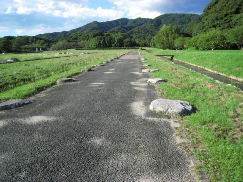 発掘調査により、九州最大の都の繁栄がより明確なものとなりました。<br /><br />礎石(そせき→石が残されている部分)が、政庁の規模の大きさを物語っています。<br /><br />長い回廊の礎石です。