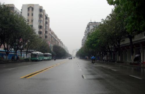 バスを降りて番禺旅行社までバイクタクシーに!と考えていたけど、これ又いつもはハエのように群がってくるバイク連中が、この時間には全く居ませんでした。<br />でもって、雨殆ど降ってないので歩いて行く事に。<br /><br />仕事で来ていた1996年頃は、いつも番禺賓館からその旅行社のある小川の手前まで歩いて出勤していましたので比較熟悉。