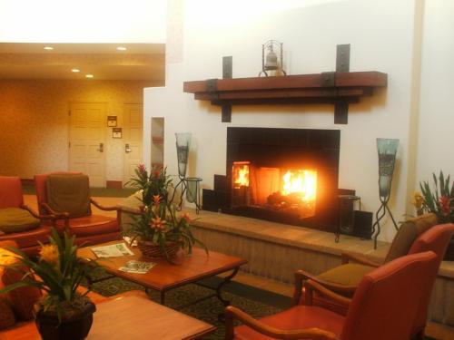 コートヤード・バイ・マリオットは通常のマリオットやルネッサンスのホテルに較べると豪華さに欠ける。ビジネス出張に最適な環境作りをした機能的なホテルである。写真:ロビーにある暖炉