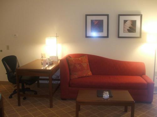 大きなソファー(写真)はベッドにもなる。1ベッドルームなので家族4人でも宿泊可能。