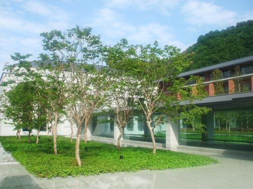 車寄せからロビーに至る前庭に「真の庭」(写真)がある。中央の木は「さるすべり」。