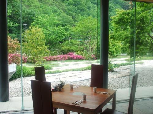 写真の席を1人で独占し、ゆっくり朝の庭園を観賞する。この庭はエクシブ京都の3番目の庭「草の庭」である。