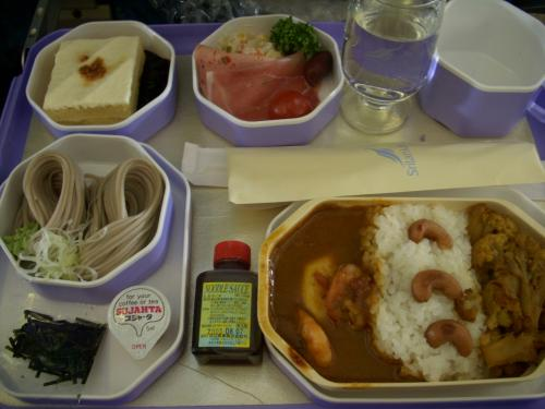 スリランカ航空の機内食です。<br />私はカレーをチョイスしました。<br />日本から乗せてあるだけあってお味は日本のカレーでした。<br />しかしインドに到着してから毎日カレー生活が始まるのに、なぜここでも自分はカレーを選んでしまったのか、自分でも不思議です。
