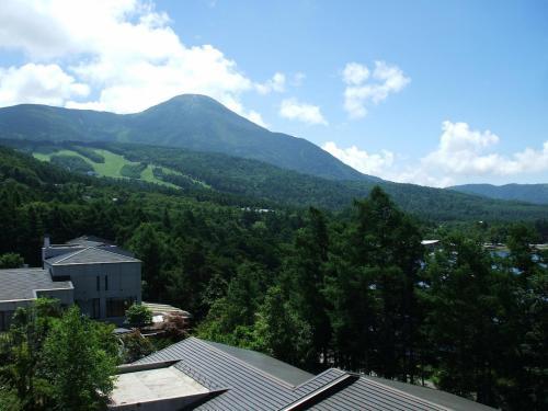 客室のバルコニーからの眺め(写真)左横に蓼科山が迫る。下方はアネックス?号棟。