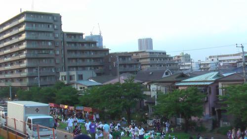土手から市川駅方面を望む。<br />彼方に見える高層ビルは 市川駅前に建設中のタワーです。(鉄骨不足で補強工事をした例のタワーも)
