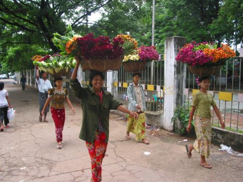 バランスとるのうまいなぁ。<br />きっとスーレーパゴタで売るための花なんだろう。