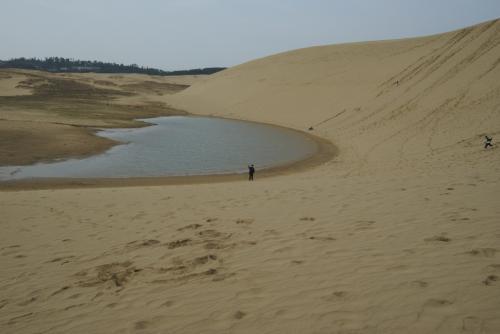 砂丘を下ったところにある水溜りみたいな池です。<br />ここまでは、歩きにくいけど下るだけなので歩くには楽です。<br />さて、旅の始まりはここから・・・・。