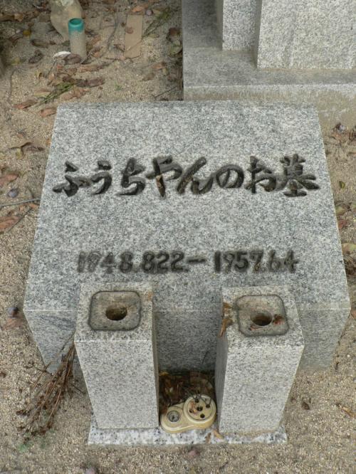 モスクワ国際児童つづり方コンクールで一等賞になりながら結果を知らずに亡くなった小学校2年生だった野上房雄君(ふうちゃん1948−1957)の墓。房雄君の悲劇は1958年の映画「つづり方兄妹」で多くの人たちの涙を誘った。<br />