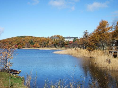 女神湖センターの右側は湿地帯になっており、季節の高山植物が楽しめる。写真:湿地帯入り口から見たホテルアンビエント蓼科