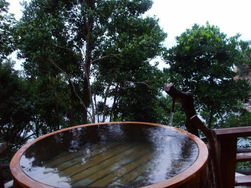 貸切露天風呂。<br />と〜ても気持ち良かった!海が見渡せて景色が良い!<br />この他にも2箇所の貸し切りと、混浴の露天風呂がありました。
