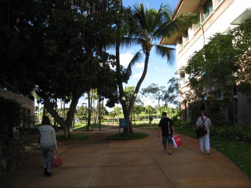 送迎の車から降りて校舎に向かいます。