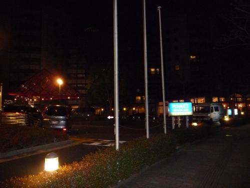 到着は夜でした。<br />ホテルの駐車場がわかり辛かったので、周りを一周してしまいました。