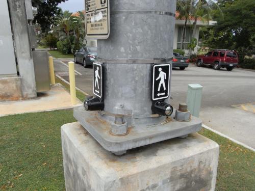 横断歩道を渡るには渡りたい方向のボタンを押すのです。