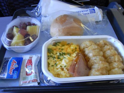 ラーメン食べたけど、機内食もいただきます。<br />おいしかった!とくにフルーツは体に浸みわたる!