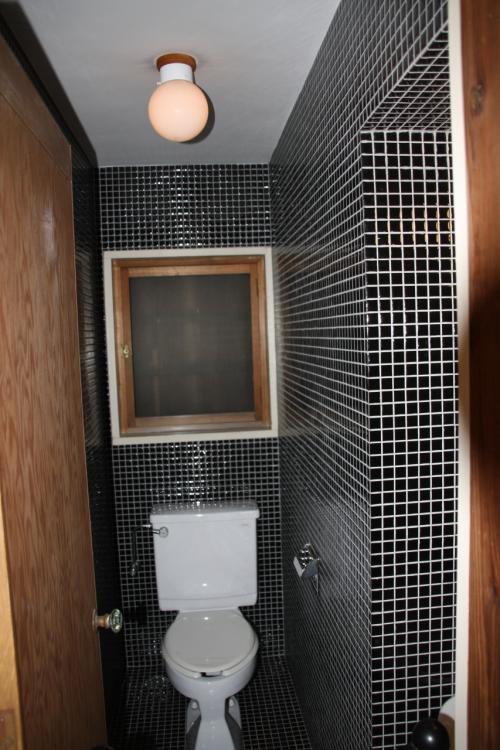 黒のモザイクタイルに白い便器がくっきり浮かんだモノトーンのトイレ