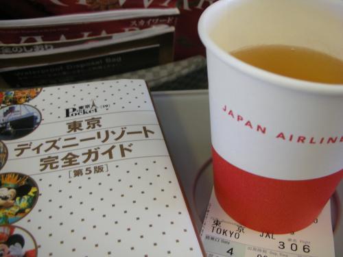 1年1度のhana家の海外旅行はお休み。<br />だって燃油代が高いんだもーん。<br />..というわけで、今回はTDRに行くことに..。<br /><br />JALのキャンペーン中につき、<br />1人8000マイルで福岡⇔東京が利用出来るということで、<br />いつもより少ないマイルで行けてラッキー☆<br /><br />機内では、アップルジュース飲みながら、<br />ディズニーリゾートのお勉強。