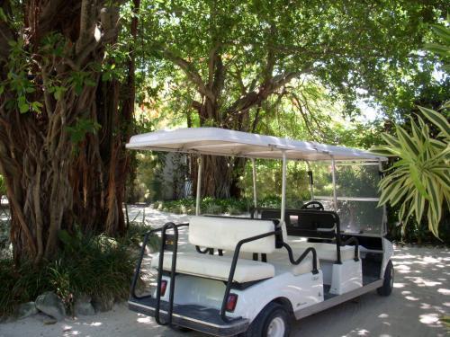 フドゥランフシは大きな島なので、このゴルフカートに乗って視察に出発します。<br />