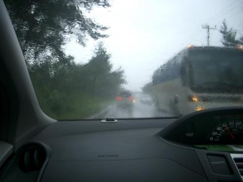 嵐の中を北進<br /> <br />一息入れて嵐の中を、大湊線に沿って北進する。道路は悪く対向車の撥ねた雨水がフロントガラスに当たり視界が取れない。予定では、下北に13時に着き、尻屋崎、恐山を見る予定で有ったので、薬研温泉に恐山経由で行って見るかと山道を恐山まで飛ばす。道は台風で木の葉が大量に落ちており、また5時を過ぎたので暗くなってきた。恐山まであと3キロメートルくらいまで来たら、なにやら倒木の処理で作業中であり、薬研温泉まで抜けるのは危険なので止めたほうが良いと。<br />