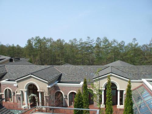 テラスからの眺め(写真)。正面の建物の中に、ショップ、シアター、アミューズメントゾーン等がある。