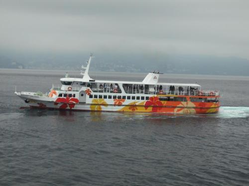 初島港まで約25分。少しの時間ではあるが船旅の旅情を味わう。途中、初島から熱海行きの船とすれ違う。
