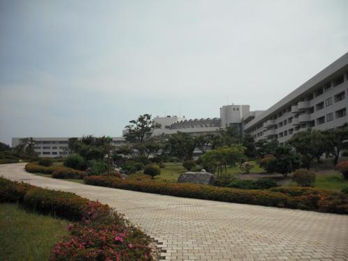大きな庭園の中を通り抜けてホテルへ向かう。アプローチ(写真)が長ければ長いほどいい。
