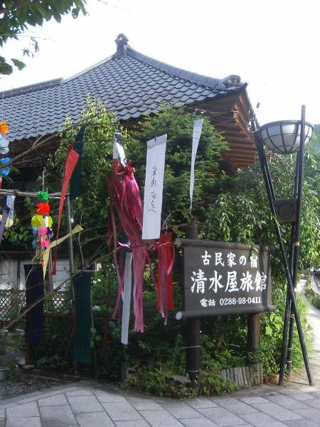 2009年7月7日から8月2日まで竹の宵まつりがを開催されており週末土日祭日は無料駐車場で踊り演奏のイベントが行われています。<br />各旅館、店舗前には七夕の飾り付けや竹細工の灯篭があり夜になると川原のに並べられた竹細工の灯篭が幻想的でした。<br />