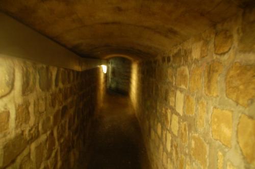 カタコンブは、もともと坑道を改造して無縁仏のために作られた墓地である。そのため、ひんやりした空気に包まれた長い長い坑道を進んで行く。
