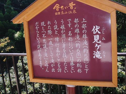 これは、東山温泉「庄助の宿 滝の湯」の所に建つ伏見ヶ滝の説明です。