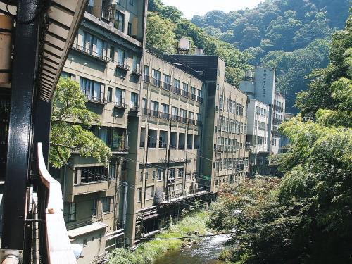 これは東山温泉の「庄助の宿 滝の湯」の所から望んだ風景で、東山ハイマートホテルと湯川が見えています。